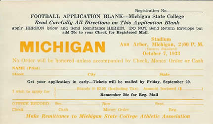 1933 MSC Ticket Application (for Michigan)