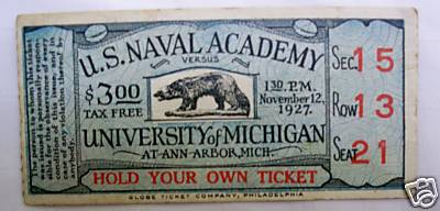 1927 Michigan Navy Ticket Stub