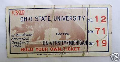 1929 Michigan Ohio State Ticket Stub