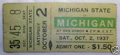 1937 Michigan-Michigan State Ticket Stub