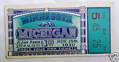 1930 Michigan Minnesota Ticket Stub