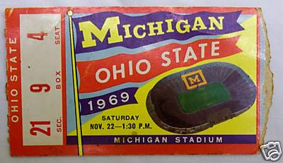 1969 Michigan Ohio State Ticket Stub