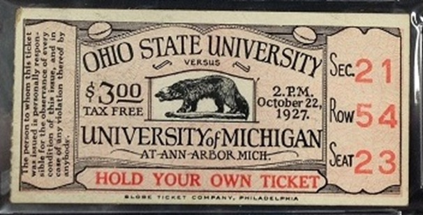 1927 Ohio State Michigan ticket