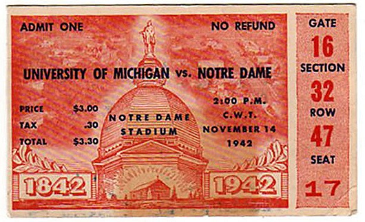 1942 Michigan at Notre Dame