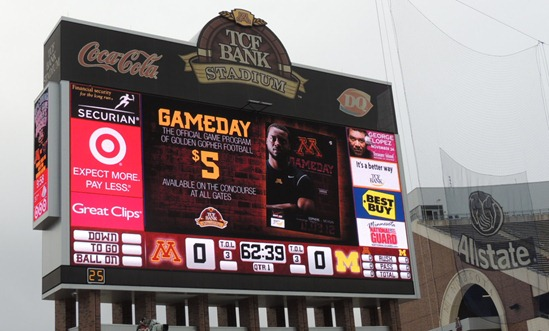 TCF Bank Stadium Scoreboard