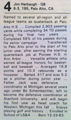 Jim Harbaugh High School Bio