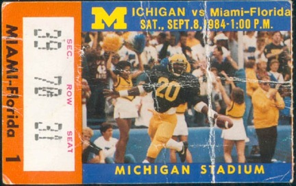 Michigan-Michigan Ticket Stub 1984 - via ticketmuseum.com