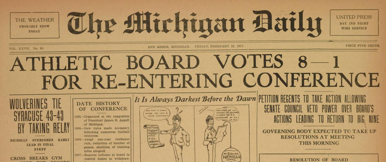 Michigan returns to the Big Ten Conference (1917)