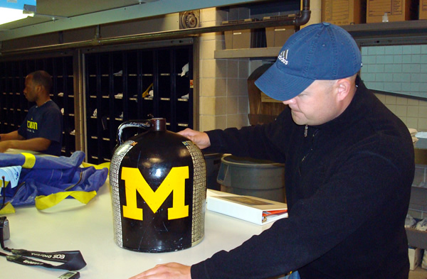 That's me (Greg Dooley) with the Little Brown Jug inside Schembechler Hall